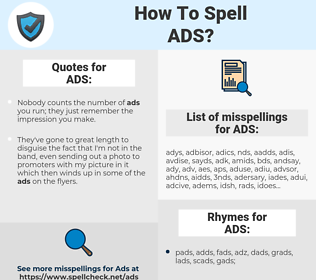 ADS, spellcheck ADS, how to spell ADS, how do you spell ADS, correct spelling for ADS