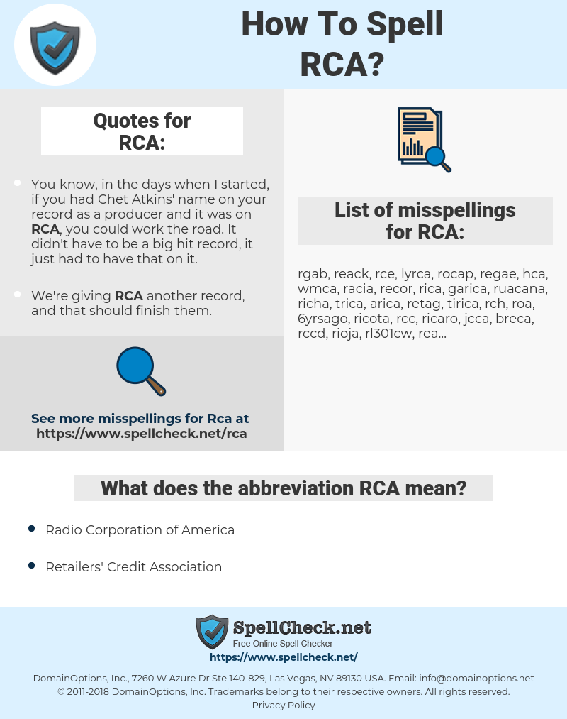 RCA, spellcheck RCA, how to spell RCA, how do you spell RCA, correct spelling for RCA
