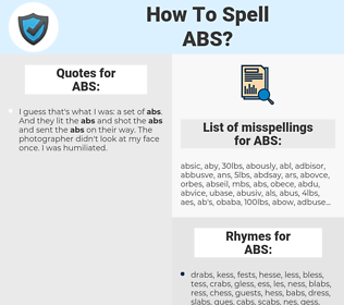 ABS, spellcheck ABS, how to spell ABS, how do you spell ABS, correct spelling for ABS