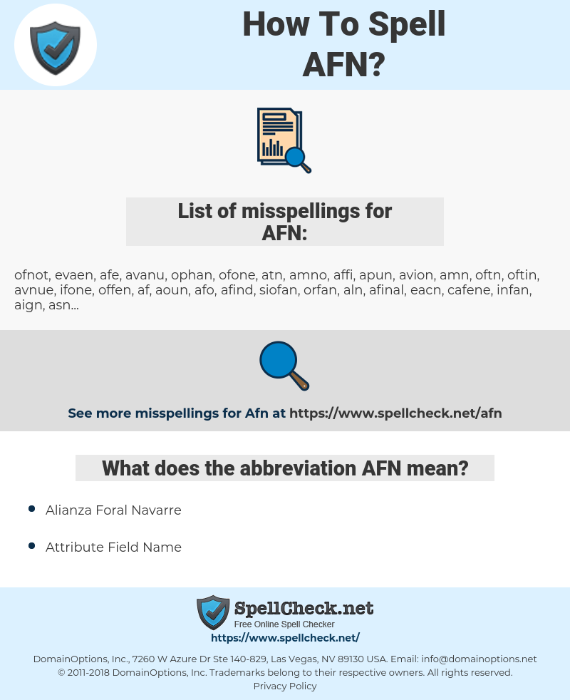AFN, spellcheck AFN, how to spell AFN, how do you spell AFN, correct spelling for AFN