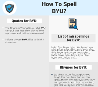 BYU, spellcheck BYU, how to spell BYU, how do you spell BYU, correct spelling for BYU