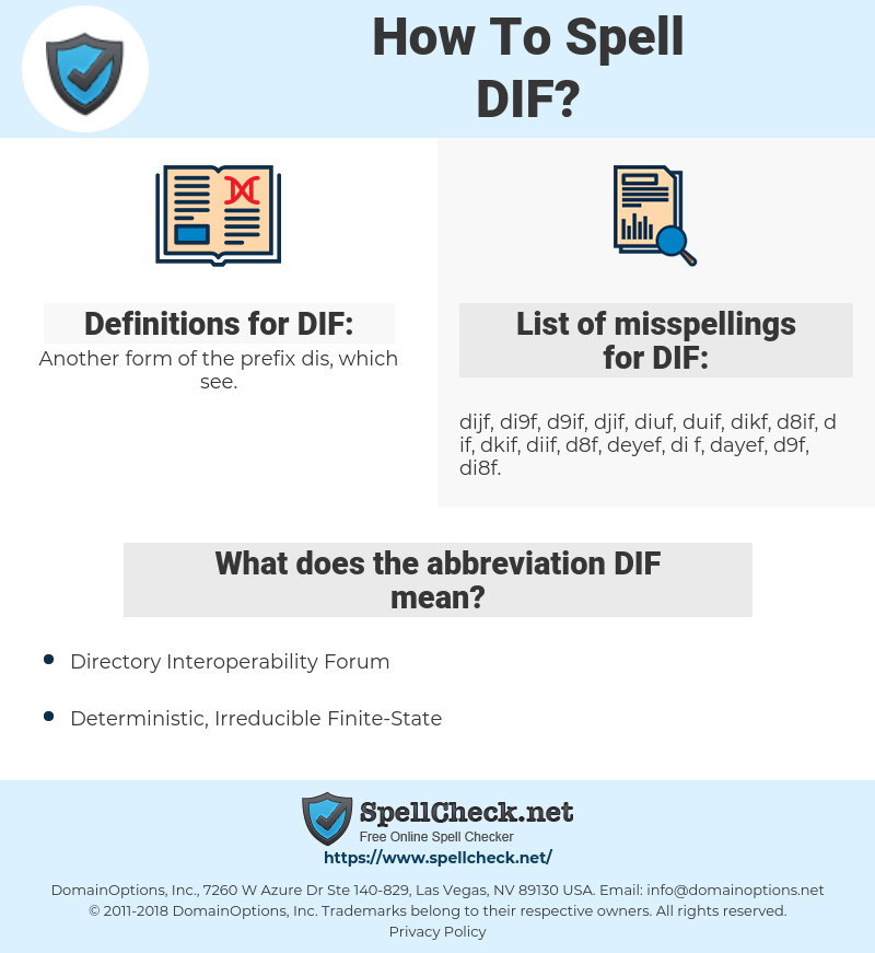DIF, spellcheck DIF, how to spell DIF, how do you spell DIF, correct spelling for DIF