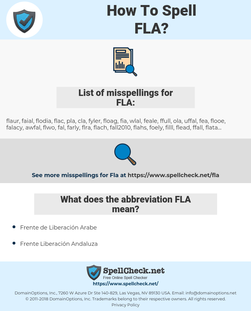 FLA, spellcheck FLA, how to spell FLA, how do you spell FLA, correct spelling for FLA