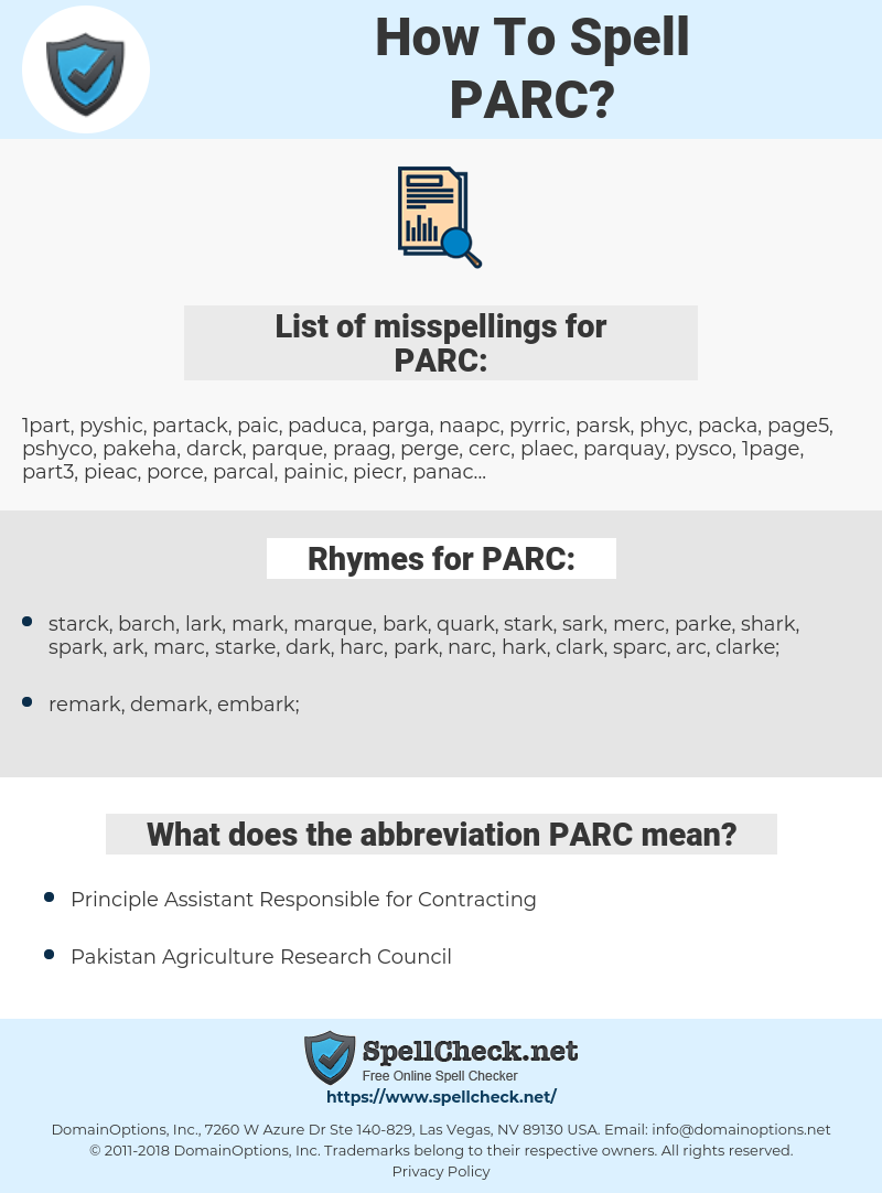 PARC, spellcheck PARC, how to spell PARC, how do you spell PARC, correct spelling for PARC