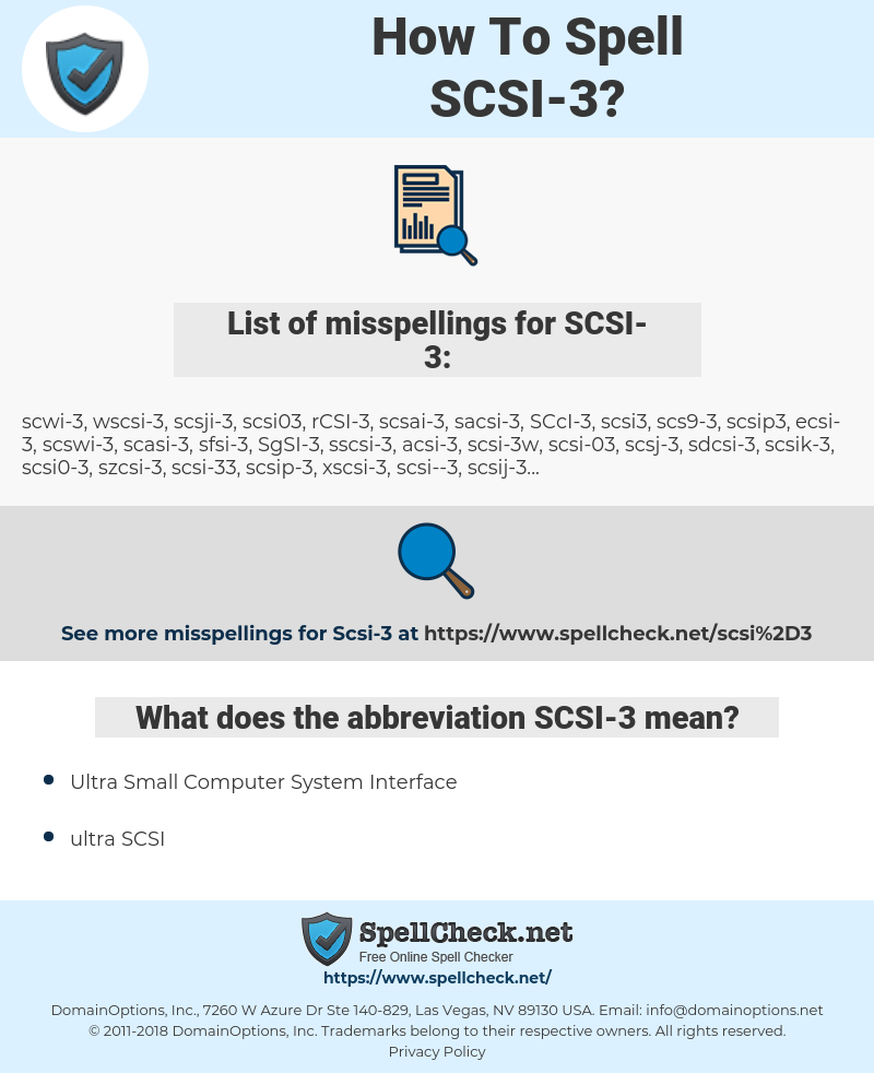 SCSI-3, spellcheck SCSI-3, how to spell SCSI-3, how do you spell SCSI-3, correct spelling for SCSI-3