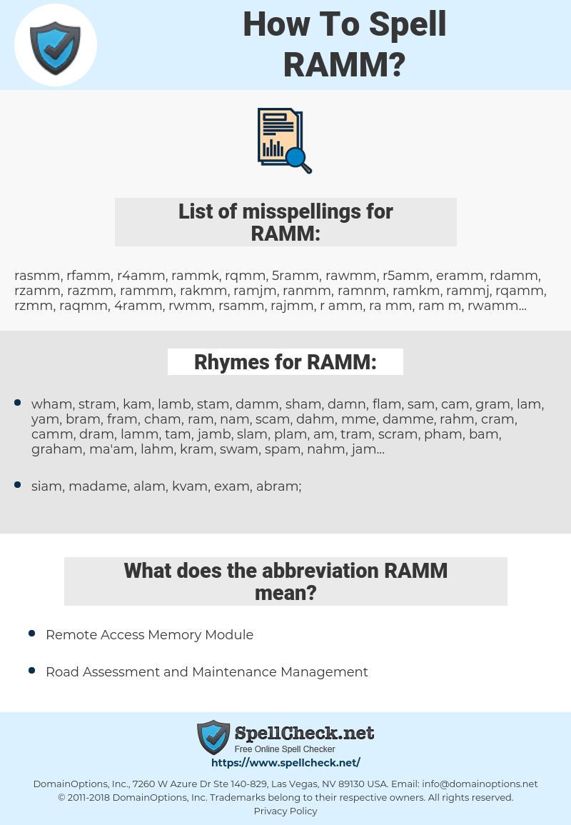 RAMM, spellcheck RAMM, how to spell RAMM, how do you spell RAMM, correct spelling for RAMM