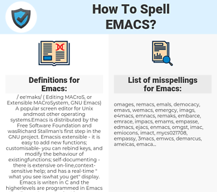 Emacs, spellcheck Emacs, how to spell Emacs, how do you spell Emacs, correct spelling for Emacs