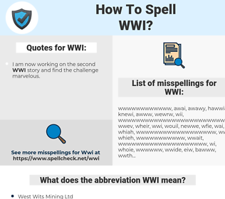 WWI, spellcheck WWI, how to spell WWI, how do you spell WWI, correct spelling for WWI