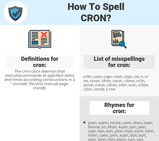 cron, spellcheck cron, how to spell cron, how do you spell cron, correct spelling for cron