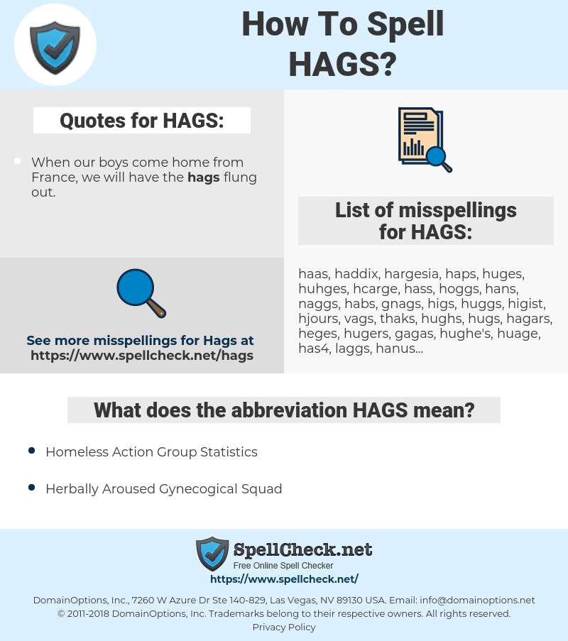 HAGS, spellcheck HAGS, how to spell HAGS, how do you spell HAGS, correct spelling for HAGS