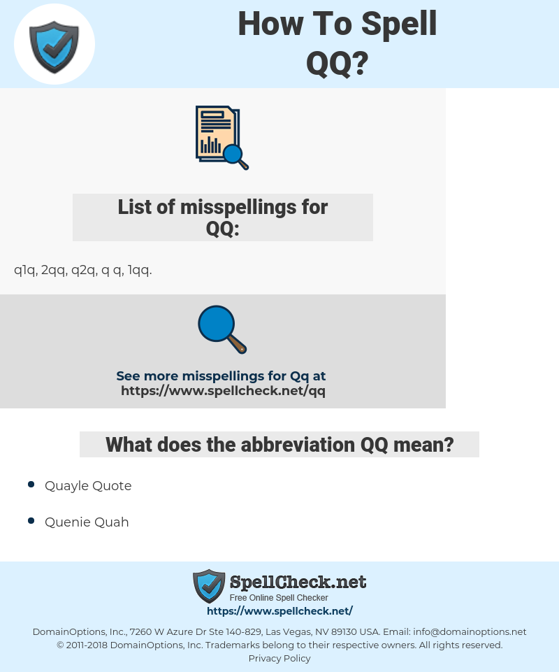 How To Spell Qq (And How To Misspell It Too) | Spellcheck net