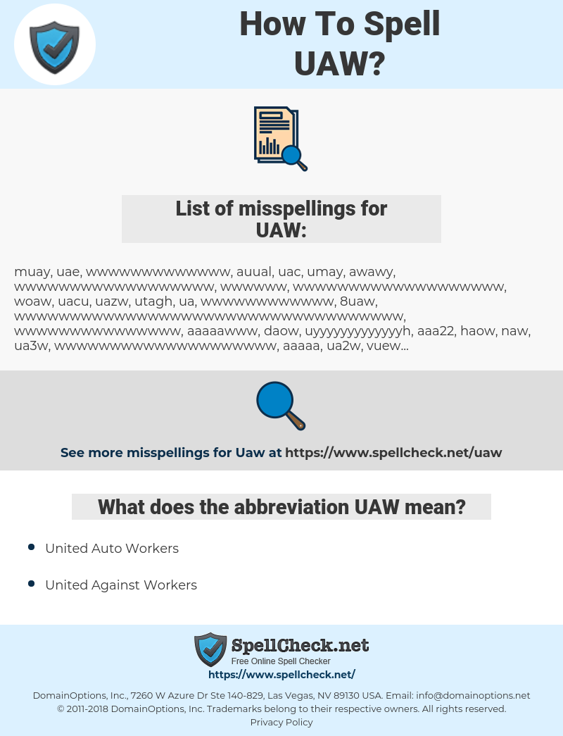 UAW, spellcheck UAW, how to spell UAW, how do you spell UAW, correct spelling for UAW