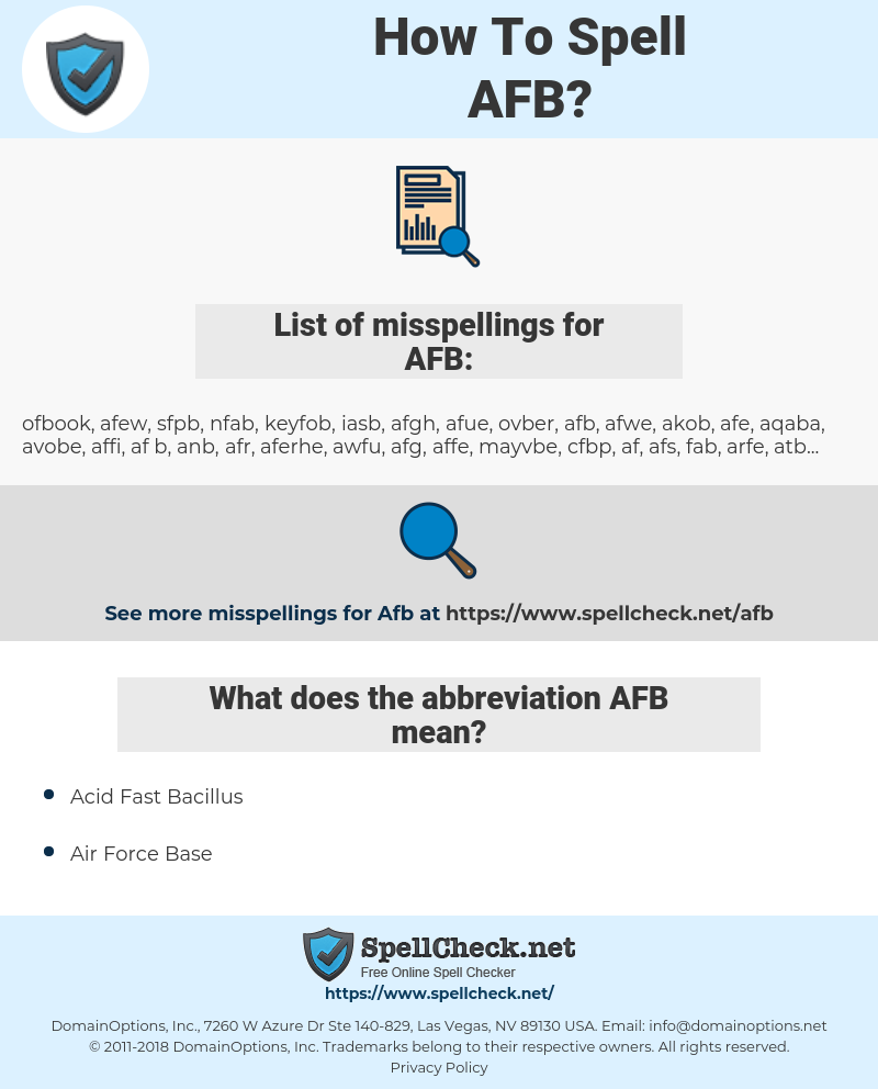AFB, spellcheck AFB, how to spell AFB, how do you spell AFB, correct spelling for AFB