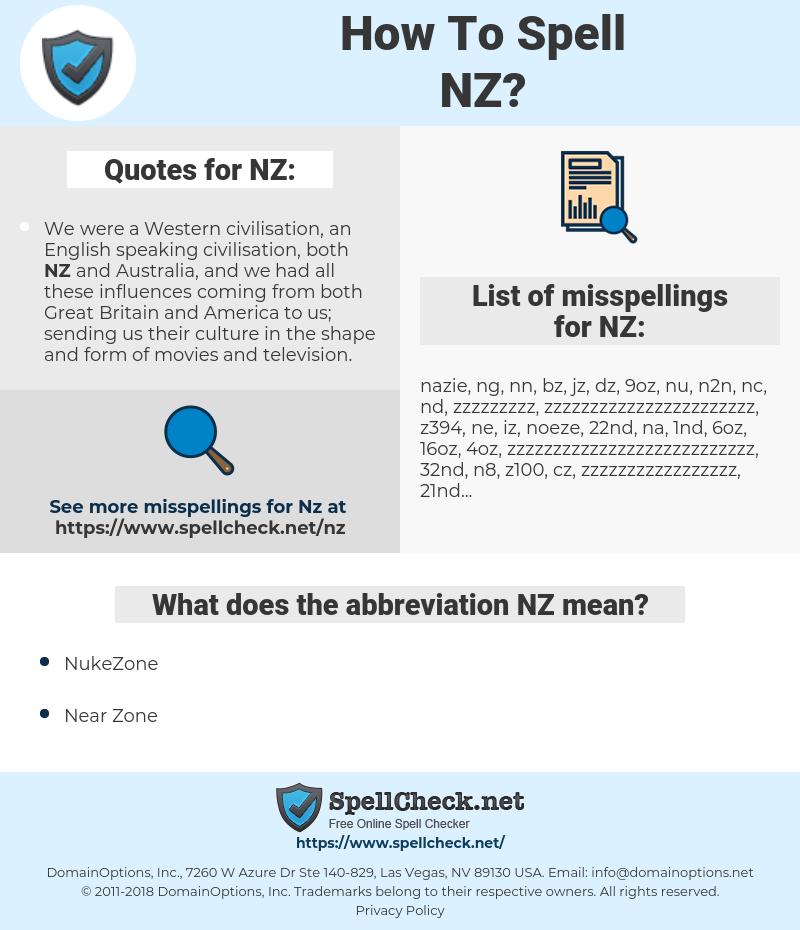 NZ, spellcheck NZ, how to spell NZ, how do you spell NZ, correct spelling for NZ