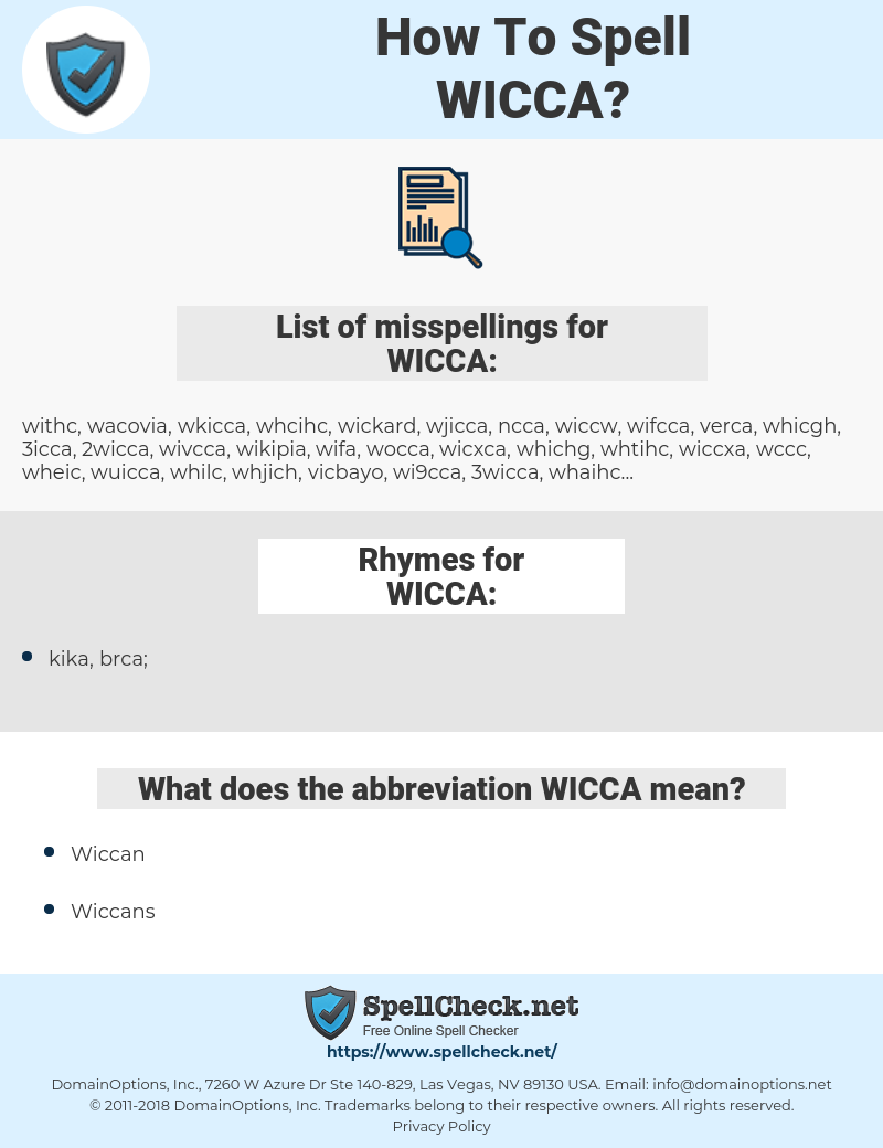 WICCA, spellcheck WICCA, how to spell WICCA, how do you spell WICCA, correct spelling for WICCA