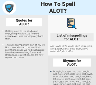 ALOT, spellcheck ALOT, how to spell ALOT, how do you spell ALOT, correct spelling for ALOT