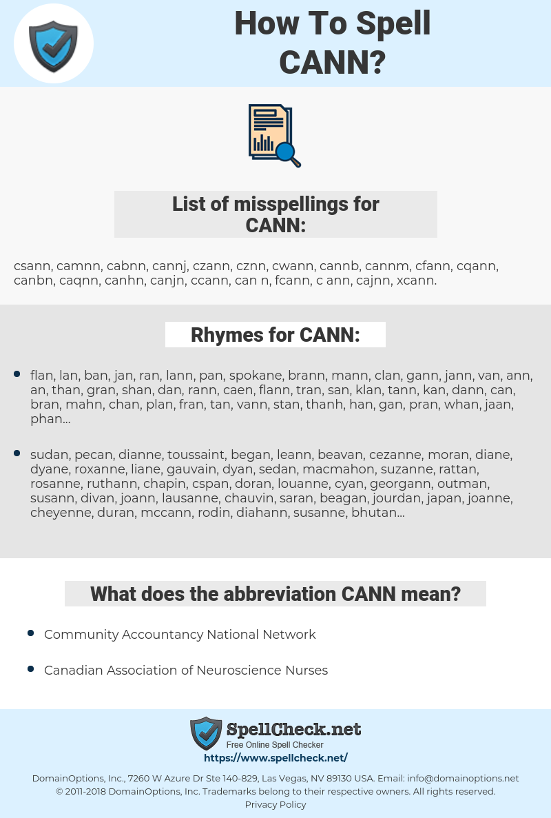 CANN, spellcheck CANN, how to spell CANN, how do you spell CANN, correct spelling for CANN