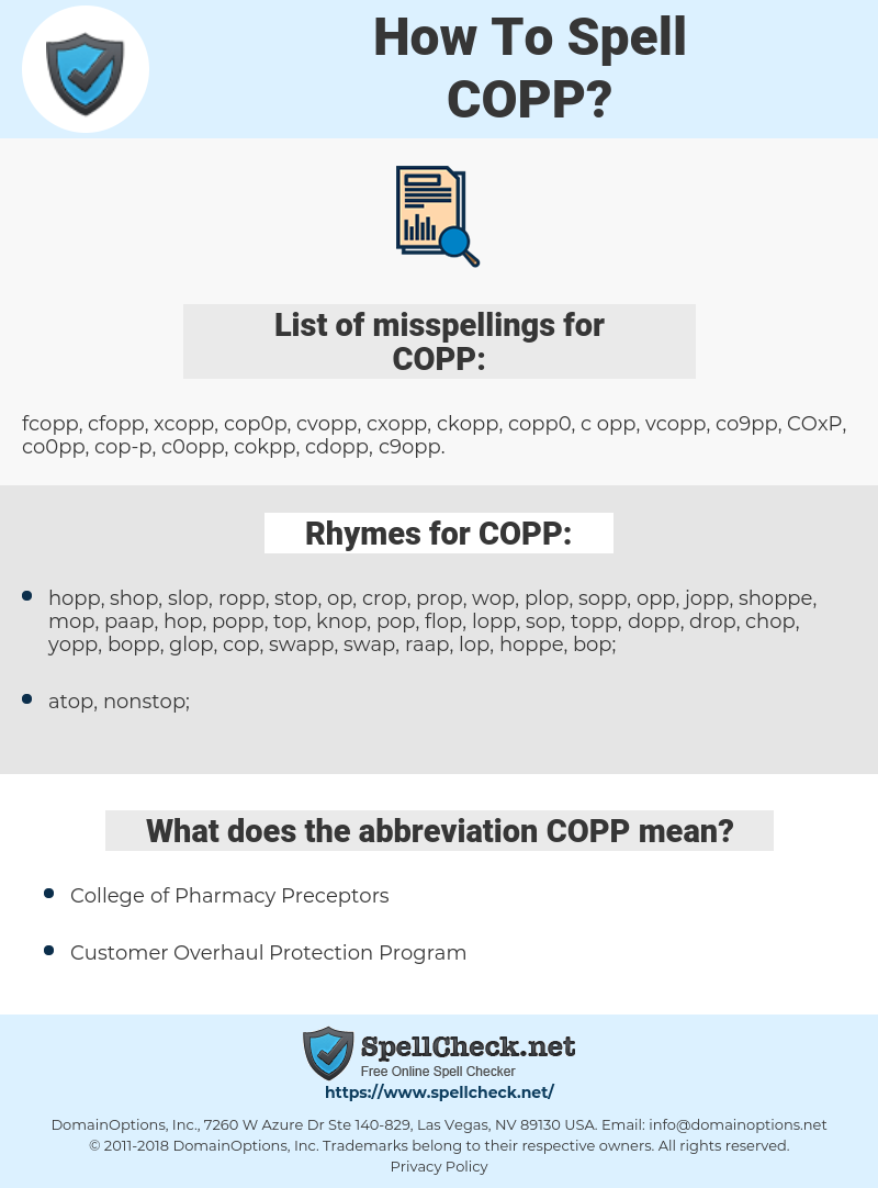 COPP, spellcheck COPP, how to spell COPP, how do you spell COPP, correct spelling for COPP