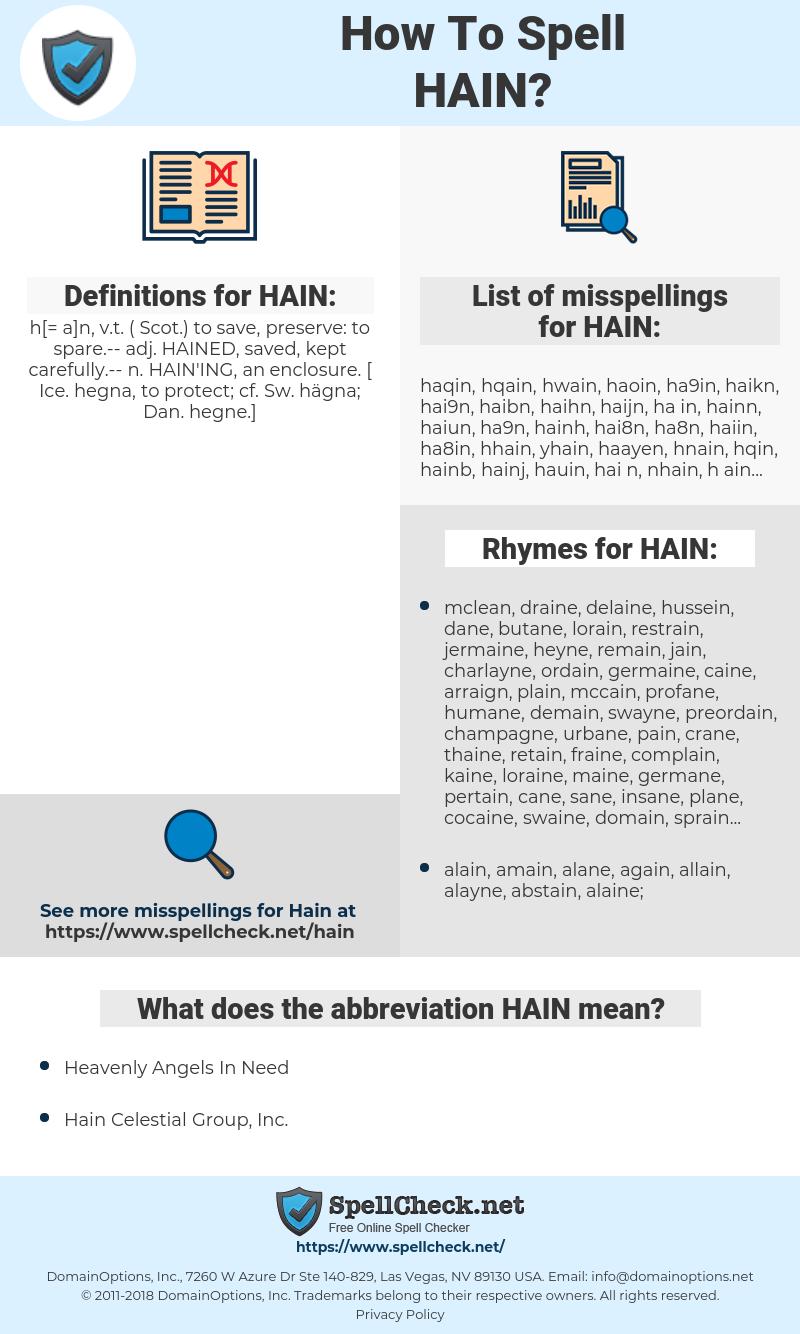 HAIN, spellcheck HAIN, how to spell HAIN, how do you spell HAIN, correct spelling for HAIN
