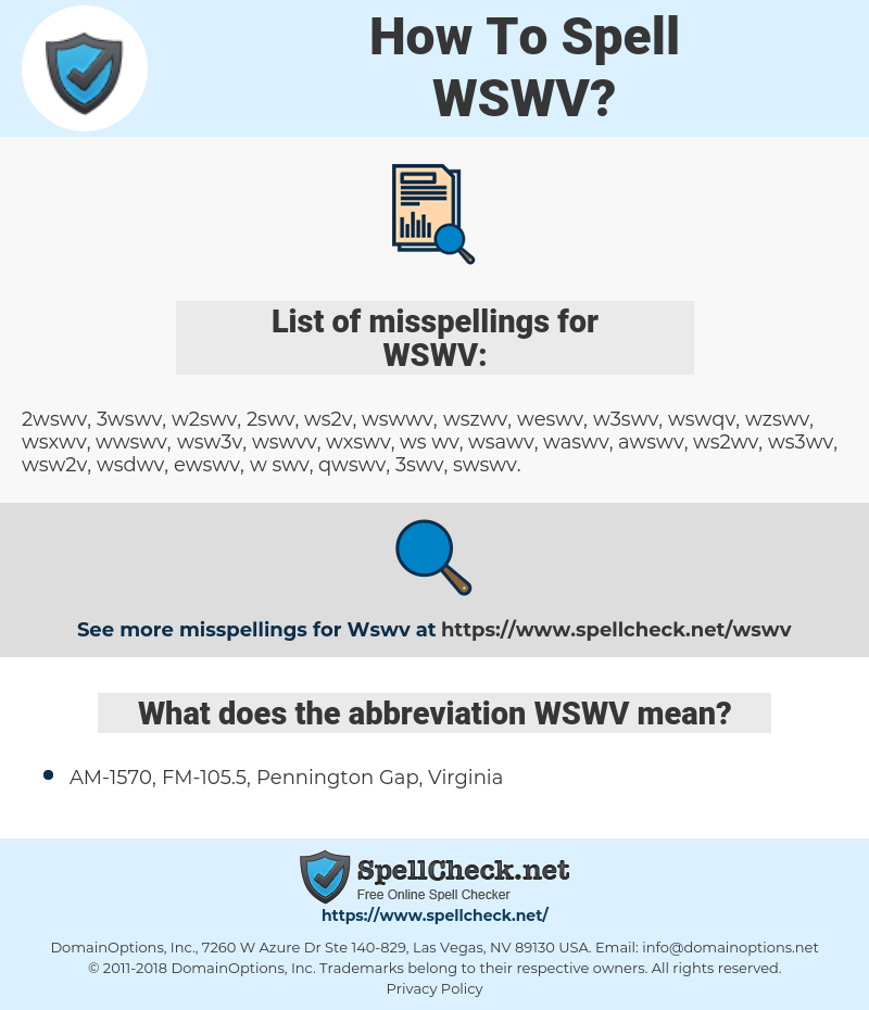 WSWV, spellcheck WSWV, how to spell WSWV, how do you spell WSWV, correct spelling for WSWV