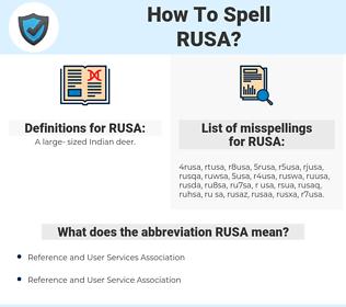 RUSA, spellcheck RUSA, how to spell RUSA, how do you spell RUSA, correct spelling for RUSA