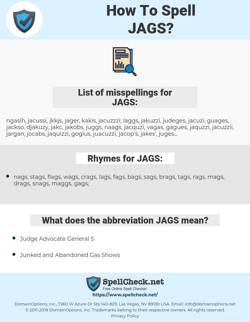 JAGS, spellcheck JAGS, how to spell JAGS, how do you spell JAGS, correct spelling for JAGS