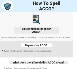 ACCO, spellcheck ACCO, how to spell ACCO, how do you spell ACCO, correct spelling for ACCO