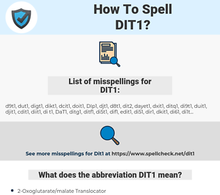 DIT1, spellcheck DIT1, how to spell DIT1, how do you spell DIT1, correct spelling for DIT1
