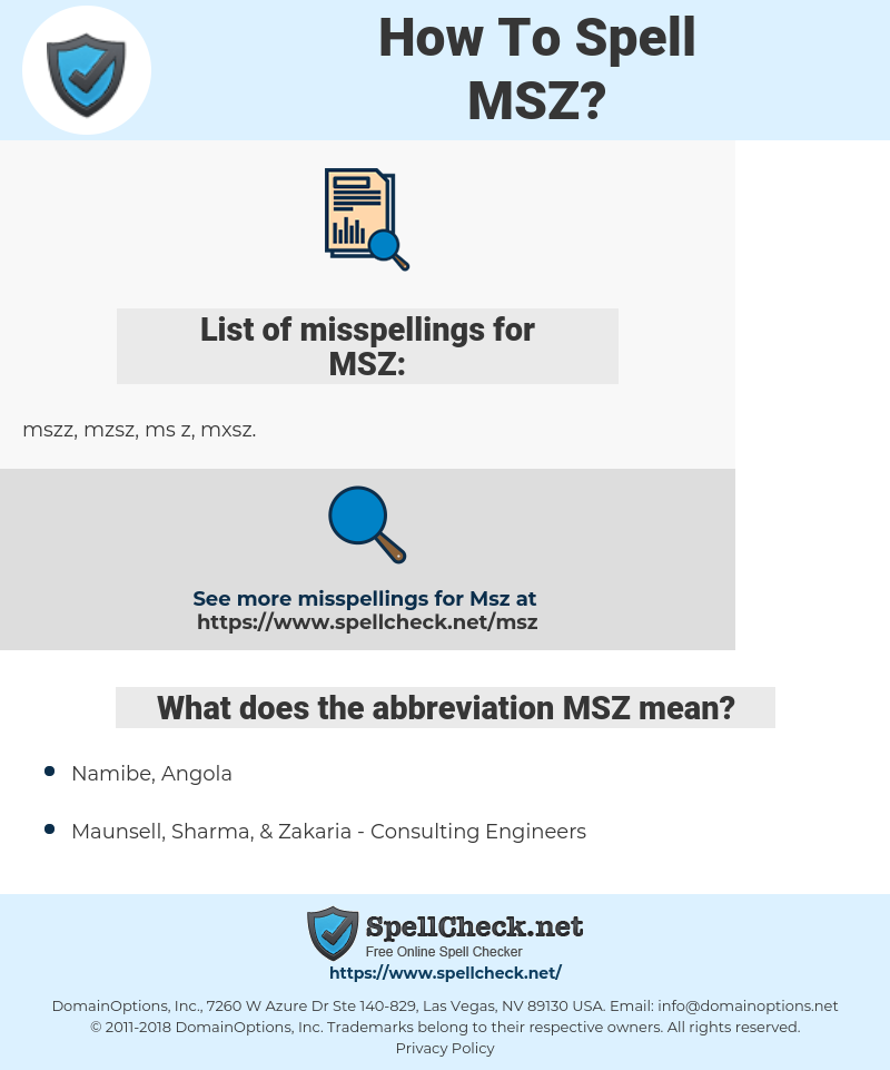 MSZ, spellcheck MSZ, how to spell MSZ, how do you spell MSZ, correct spelling for MSZ