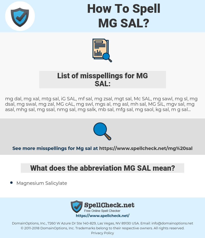 MG SAL, spellcheck MG SAL, how to spell MG SAL, how do you spell MG SAL, correct spelling for MG SAL