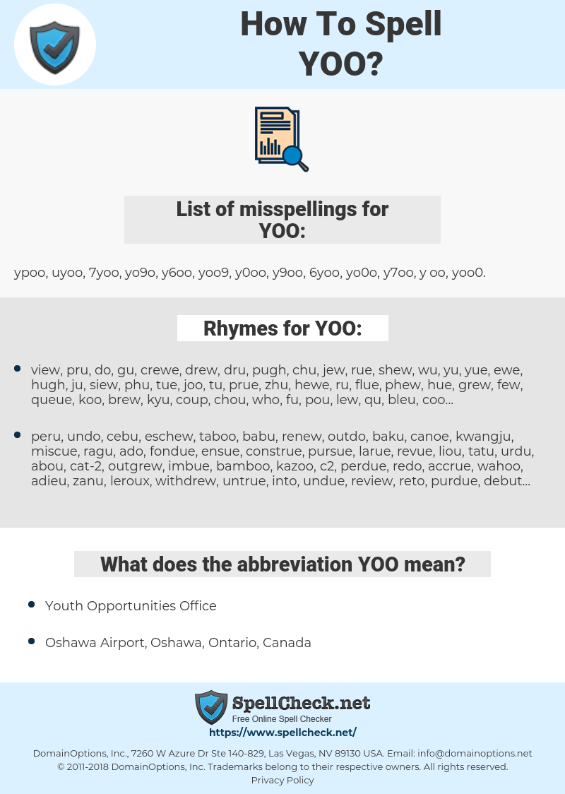 YOO, spellcheck YOO, how to spell YOO, how do you spell YOO, correct spelling for YOO