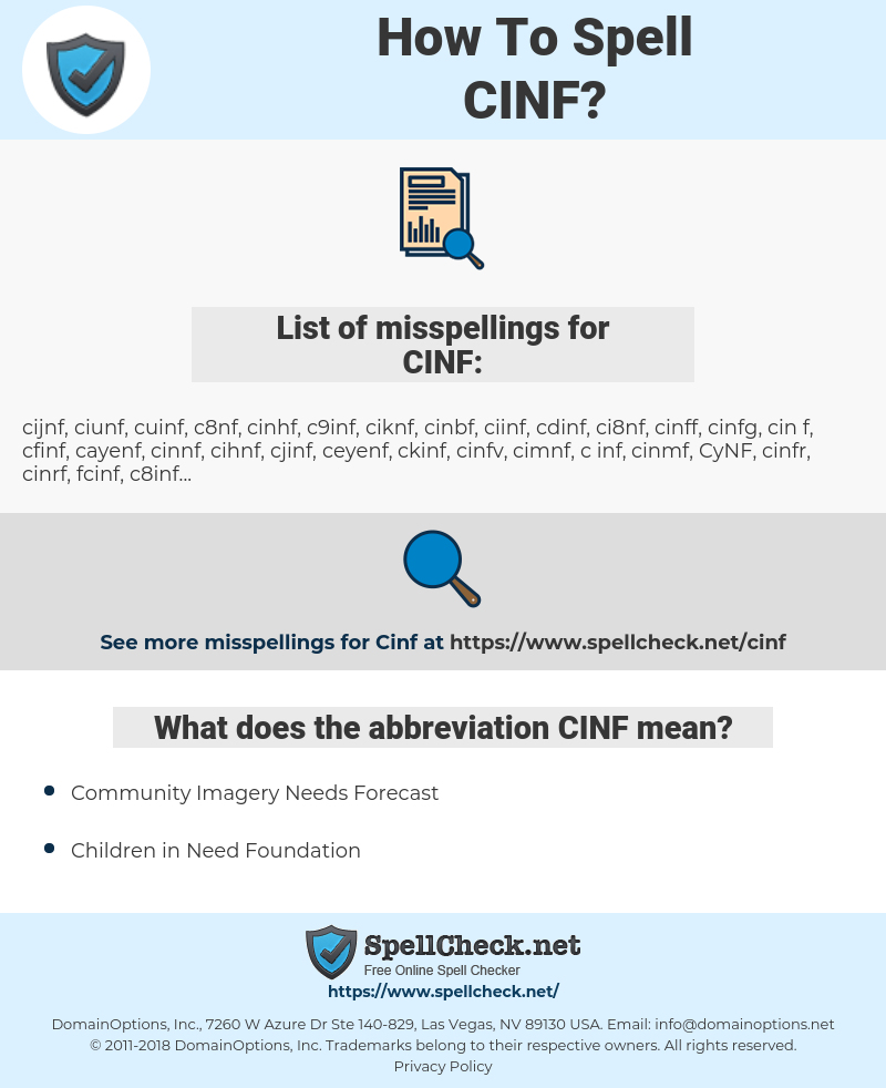 CINF, spellcheck CINF, how to spell CINF, how do you spell CINF, correct spelling for CINF
