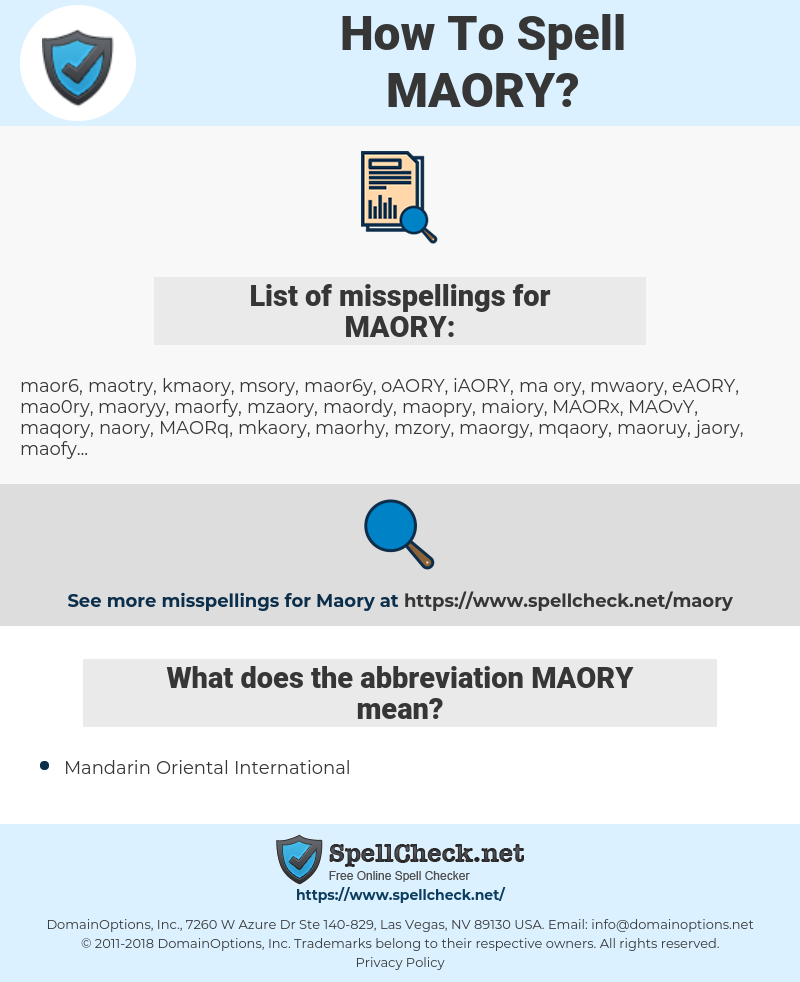 MAORY, spellcheck MAORY, how to spell MAORY, how do you spell MAORY, correct spelling for MAORY
