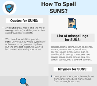 SUNS, spellcheck SUNS, how to spell SUNS, how do you spell SUNS, correct spelling for SUNS