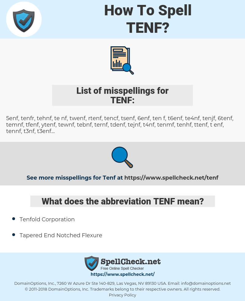 TENF, spellcheck TENF, how to spell TENF, how do you spell TENF, correct spelling for TENF
