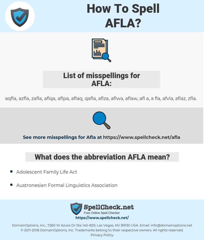 AFLA, spellcheck AFLA, how to spell AFLA, how do you spell AFLA, correct spelling for AFLA