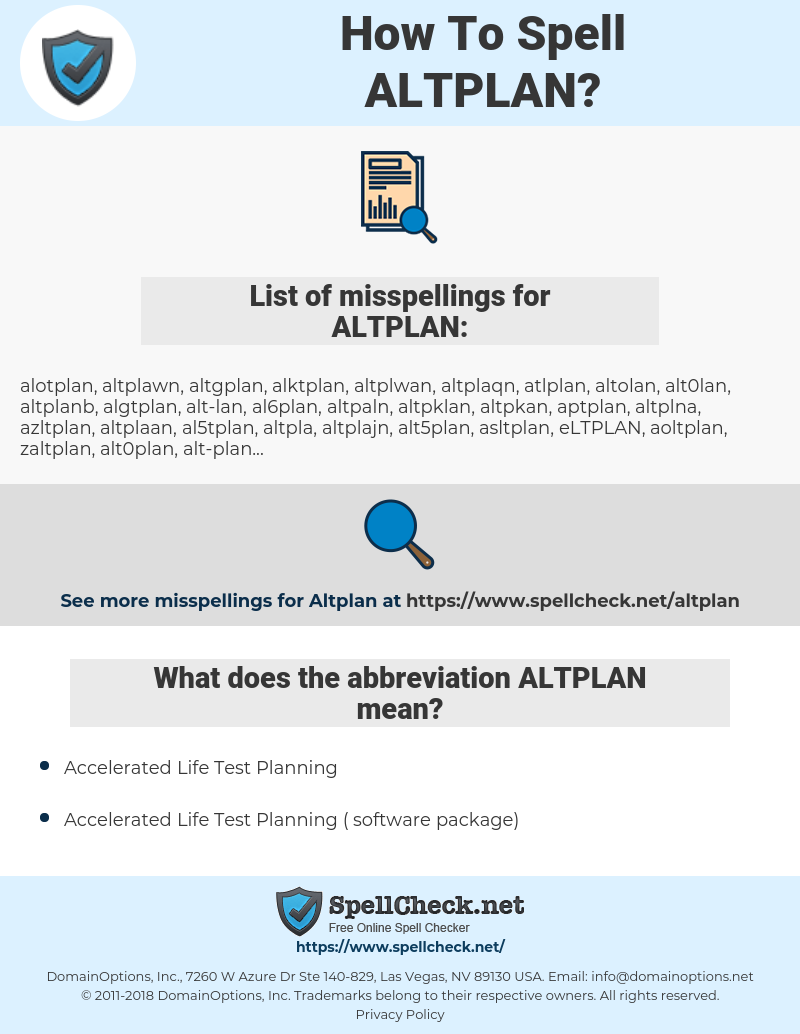 ALTPLAN, spellcheck ALTPLAN, how to spell ALTPLAN, how do you spell ALTPLAN, correct spelling for ALTPLAN