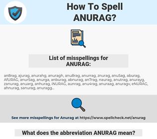 ANURAG, spellcheck ANURAG, how to spell ANURAG, how do you spell ANURAG, correct spelling for ANURAG