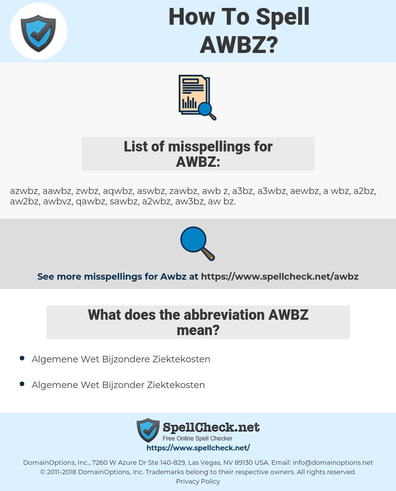 AWBZ, spellcheck AWBZ, how to spell AWBZ, how do you spell AWBZ, correct spelling for AWBZ