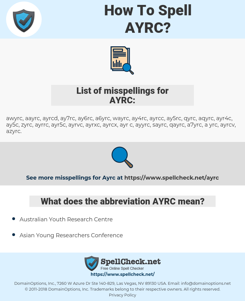 AYRC, spellcheck AYRC, how to spell AYRC, how do you spell AYRC, correct spelling for AYRC