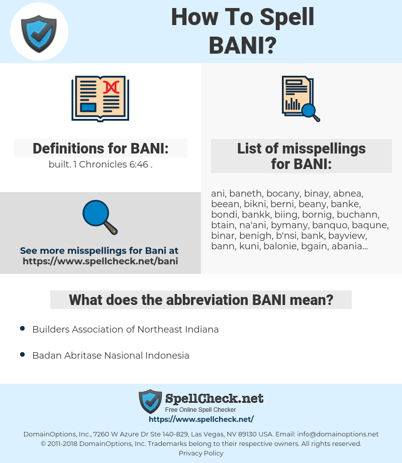 BANI, spellcheck BANI, how to spell BANI, how do you spell BANI, correct spelling for BANI