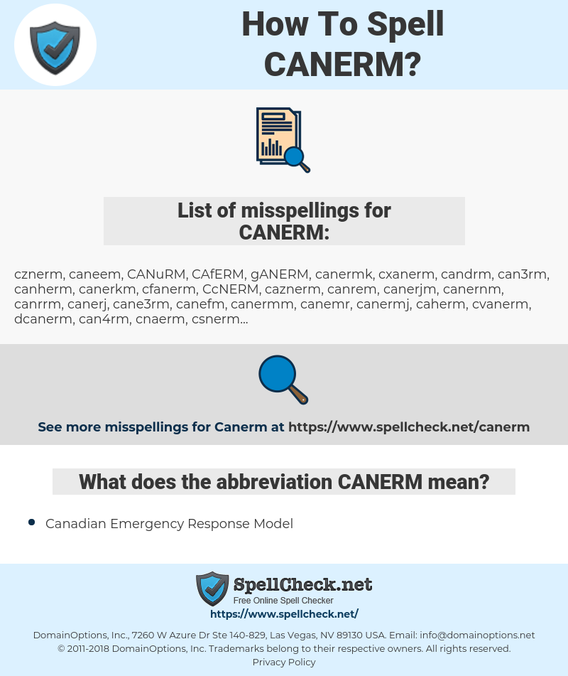 CANERM, spellcheck CANERM, how to spell CANERM, how do you spell CANERM, correct spelling for CANERM
