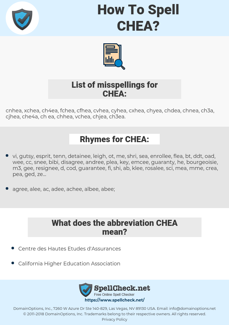 CHEA, spellcheck CHEA, how to spell CHEA, how do you spell CHEA, correct spelling for CHEA
