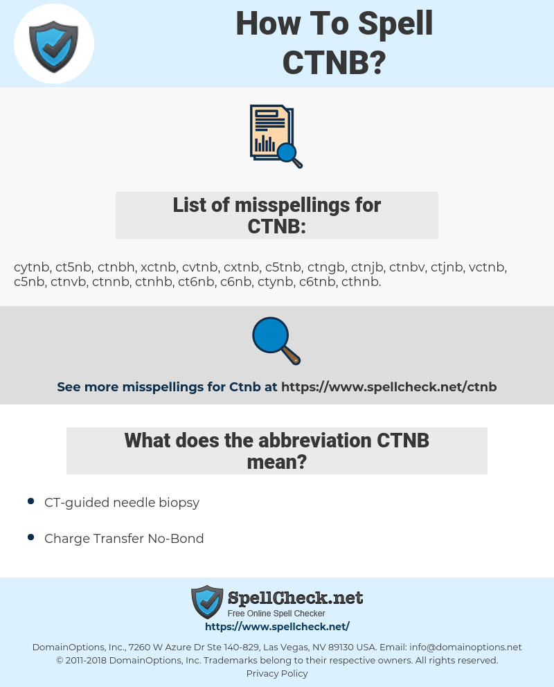 CTNB, spellcheck CTNB, how to spell CTNB, how do you spell CTNB, correct spelling for CTNB