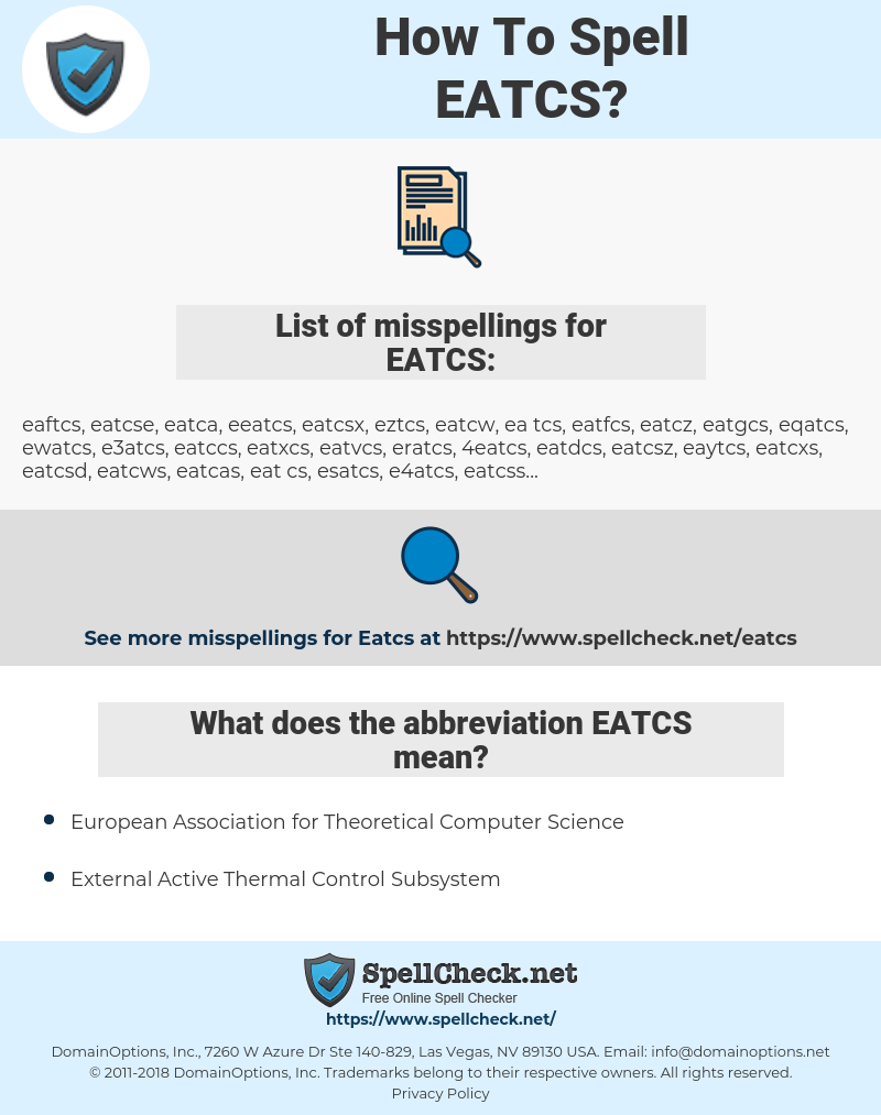 EATCS, spellcheck EATCS, how to spell EATCS, how do you spell EATCS, correct spelling for EATCS