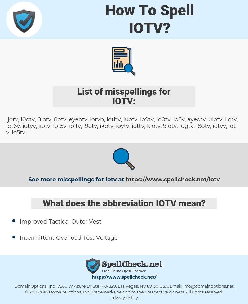 IOTV, spellcheck IOTV, how to spell IOTV, how do you spell IOTV, correct spelling for IOTV