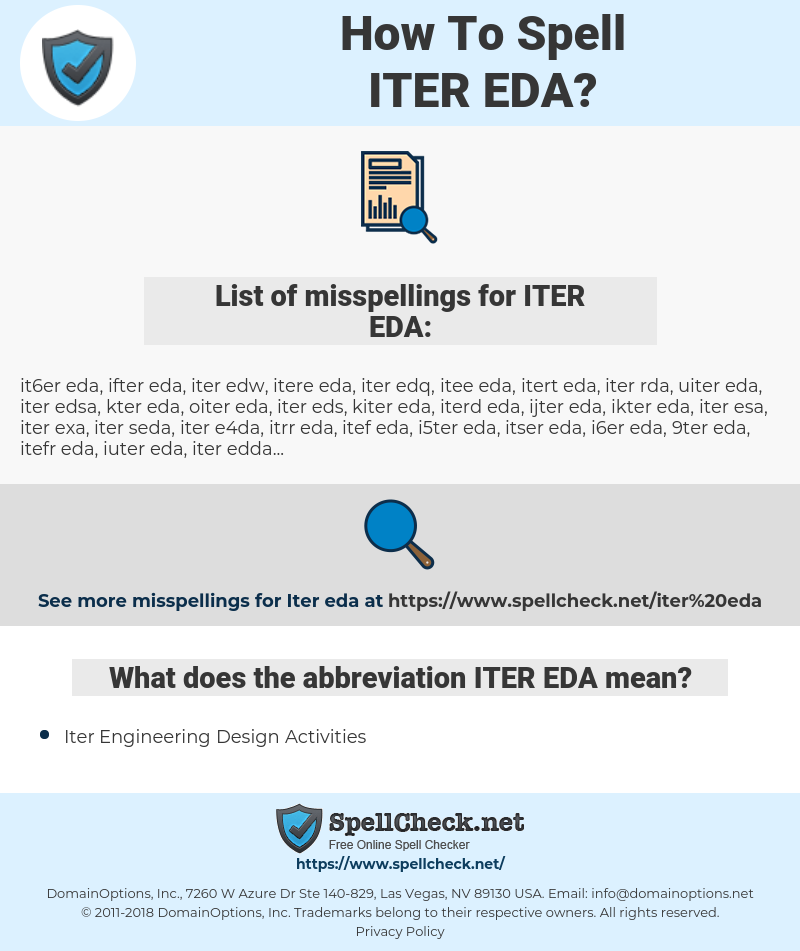 ITER EDA, spellcheck ITER EDA, how to spell ITER EDA, how do you spell ITER EDA, correct spelling for ITER EDA