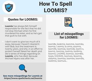 LOOMIS, spellcheck LOOMIS, how to spell LOOMIS, how do you spell LOOMIS, correct spelling for LOOMIS