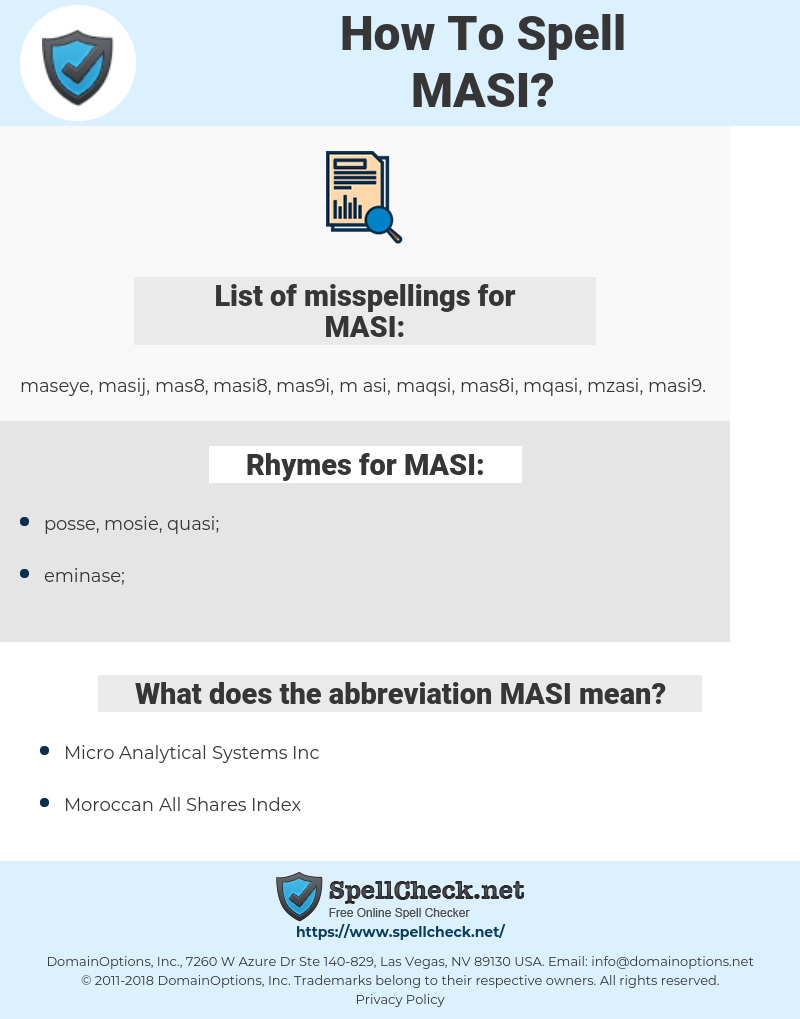 MASI, spellcheck MASI, how to spell MASI, how do you spell MASI, correct spelling for MASI