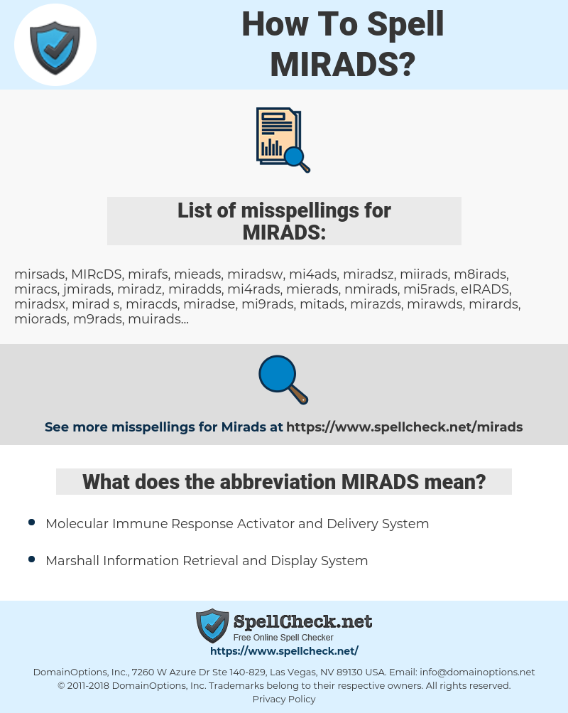 MIRADS, spellcheck MIRADS, how to spell MIRADS, how do you spell MIRADS, correct spelling for MIRADS
